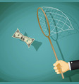 man catches with net a dollar bill vector image vector image