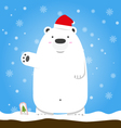 Merry Christmas white polar bear wear hat standing vector image vector image