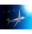 naturalistic 3d passenger plane flying in sky vector image vector image