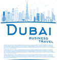 Outline Dubai City skyline with blue skyscrapers vector image vector image