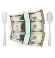 pack banknotes on a dish with fork and spoon vector image vector image
