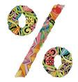 percent sign zentangle decorative unusual object vector image vector image