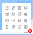 pictograph set 16 simple outlines consultant vector image vector image