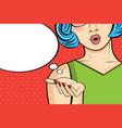 pop art woman comic woman with speech bubble vector image vector image