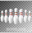 realistic bowling white pins isolated on vector image