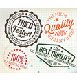 retro vintage stamps on old squared paper vector image vector image