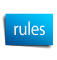 rules blue paper sign on white background vector image vector image