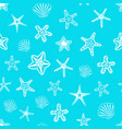 seamless pattern with seashells and starfishes on vector image