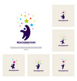 set of reaching stars logo design concept child vector image