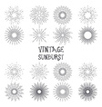 Set of vintage hand drawn sunbursts vector image