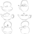 set teapot silhouette vector image vector image
