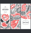 set three meat products design templates hand vector image