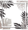 silver tropical leaves with frame vector image vector image