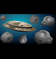 space ship in asteroids scene vector image vector image