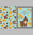 thanksgiving wild animal seamless pattern vector image