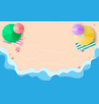 top view beach sand and blue oceans with umbrellas vector image