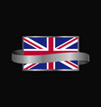 united kingdom flag ribbon banner design vector image