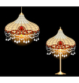 vintage chandelier and table lamp vector image vector image