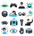 virtual reality visualization simulation icon set vector image