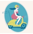 Woman on a retro scooter vector image vector image
