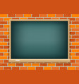 blackboard on red brick background vector image