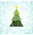 merry christmas green tree triangular pattern vector image