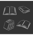 Book and notebook sketch set on black background vector image