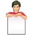 A man with an empty signboard vector image vector image