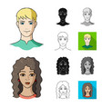 avatar and face cartoonblackflatmonochrome vector image vector image