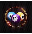 Bingo balls over glowing circle background vector image vector image