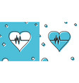 black heart rate icon isolated on blue and white vector image vector image