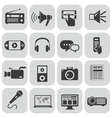 black media icons set on gray vector image vector image