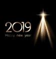 black shiny happy new year 2019 poster with golden vector image vector image