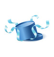 blue opened 3d realistic round gift box with vector image vector image