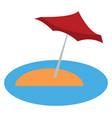 blue umbrella in sea beach or color vector image