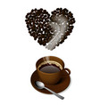 brown cup coffee with a spoon and heart shaped vector image