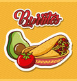 burritos in bowl avocado and tomato mexican food vector image