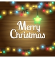 Christmas lights border frame vector image vector image