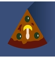 flat icon with long shadow slice of pizza vector image vector image