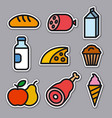 food and grocery stickers vector image