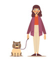girl with a puppy dog on a leash - isolated over a vector image