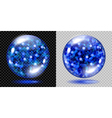 Glass spheres with glowing sparkles vector image