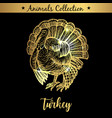 golden and royal hand drawn emblem of farm turkey vector image vector image