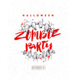 halloween hand drawn zombie party poster or flyer vector image vector image