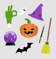 halloween sticker pack set halloween icons vector image