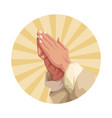 hands praying sign vector image