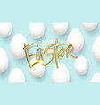 happy easter golden inscription on a blue vector image
