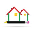 house with pencil vector image vector image