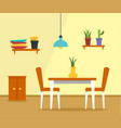 kitchen table concept background flat style vector image vector image