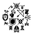 knight medieval icons set simple style vector image